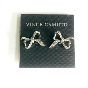 Vince Camuto Crystal Bow Stud Earrings NWT Silver